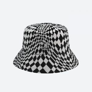 כובע קנגול לגברים Kangol Warped Check Bucket - שחור/לבן