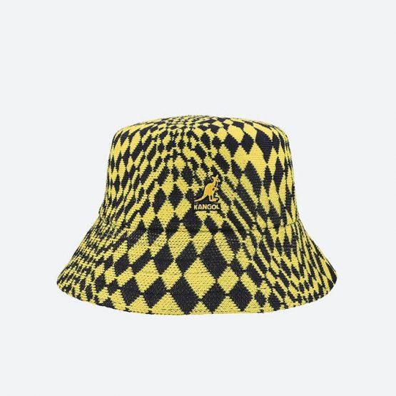 כובע קנגול לגברים Kangol Warped Check Bucket - כחול