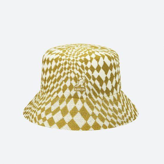 כובע קנגול לגברים Kangol Warped Check Bucket - צהוב