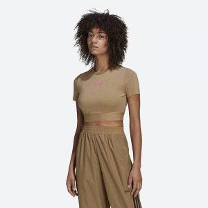 חולצת T אדידס לנשים Adidas R.Y.V. Cropped - חום כהה