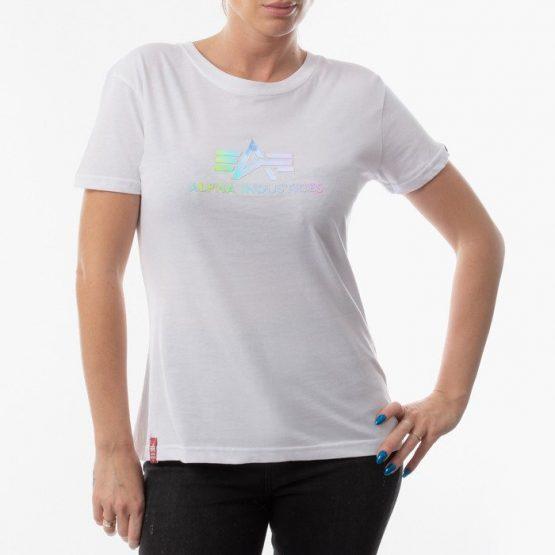 חולצת T אלפא אינדסטריז לנשים Alpha Industries Rainbow - לבן