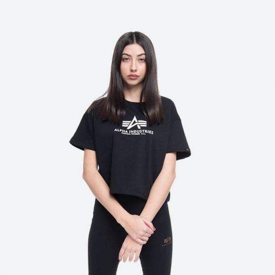 חולצת T אלפא אינדסטריז לנשים Alpha Industries asic Boxy T Wmn - שחור
