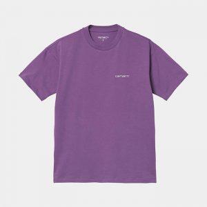 חולצת T קארהארט לנשים Carhartt WIP S/S Script Embroidery - סגול