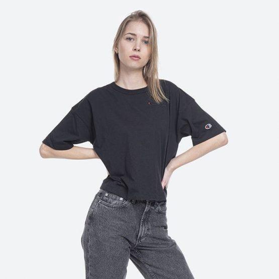 חולצת T צ'מפיון לנשים Champion Crewneck Crop-Top - שחור