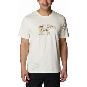 חולצת T קולומביה לגברים Columbia CLARKWALL ORGANIC - לבן הדפס