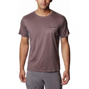 חולצת T קולומביה לגברים Columbia MAZAMA TRAIL - חום/אפור