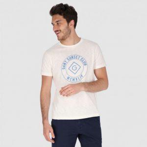 חולצת T גאנט לגברים GANT Sunset Club Print - לבן