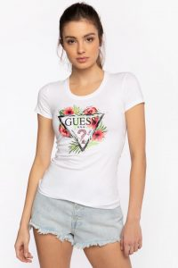 חולצת T גס לנשים Guess REBECCA - לבן