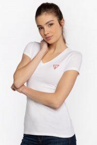 חולצת T גס לנשים Guess MINI TRIANGLE - לבן