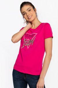 חולצת T גס לנשים Guess TRIANGLE LOGO ICON - ורוד