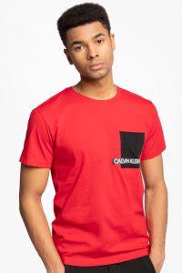 חולצת T קלווין קליין לגברים Calvin Klein COTTON LOGO - אדום