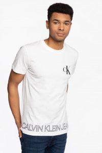 חולצת T קלווין קליין לגברים Calvin Klein Baskılı - לבן