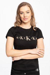 חולצת T קלווין קליין לנשים Calvin Klein COTTON LOGO - שחור