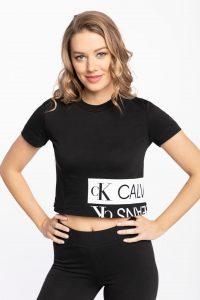 חולצת T קלווין קליין לנשים Calvin Klein MIRRORED LOGO - שחור