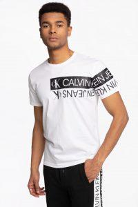 חולצת T קלווין קליין לגברים Calvin Klein COTTON MIRRORED - לבן