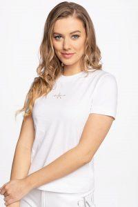 חולצת T קלווין קליין לנשים Calvin Klein MONOGRAM LOGO - לבן