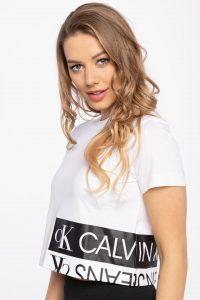 חולצת T קלווין קליין לנשים Calvin Klein MIRRORED LOGO - לבן