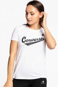 חולצת T קונברס לנשים Converse FRONT LOGO - לבן