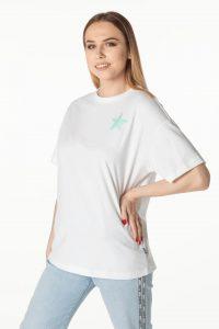 חולצת T קונברס לנשים Converse TWISTED VARSITY - לבן