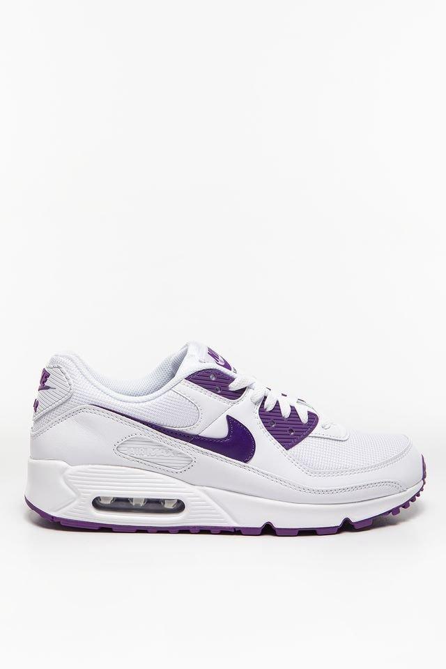נעלי סניקרס נייק לגברים Nike Air Max 90 - לבן/סגול