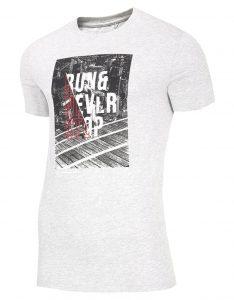 חולצת T פור אף לגברים 4F NEVERSTOP - אפור בהיר