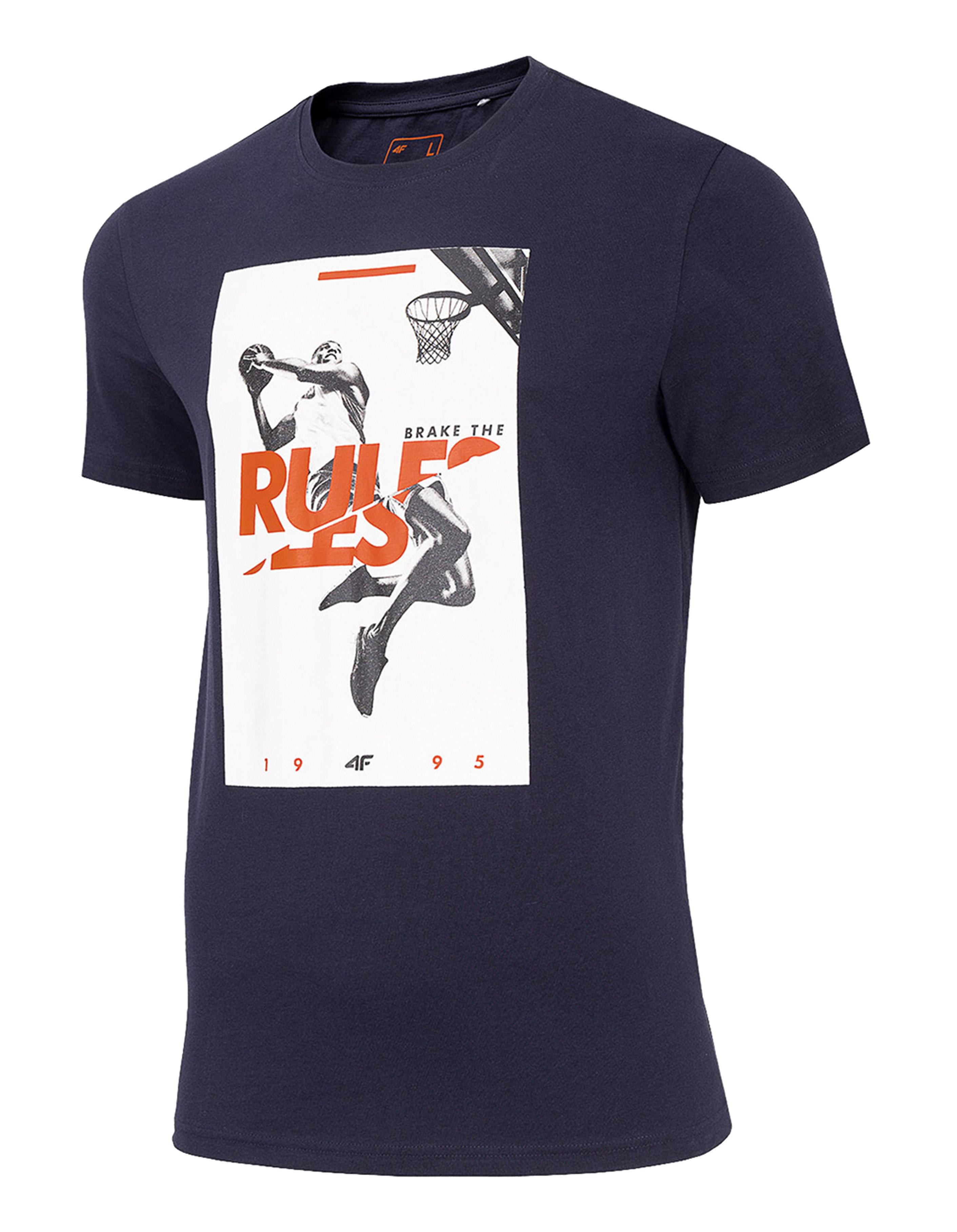 חולצת T פור אף לגברים 4F RULES - כחול כהה