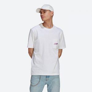חולצת T אדידס לגברים Adidas Originals Adv Pkt Logotee - לבן