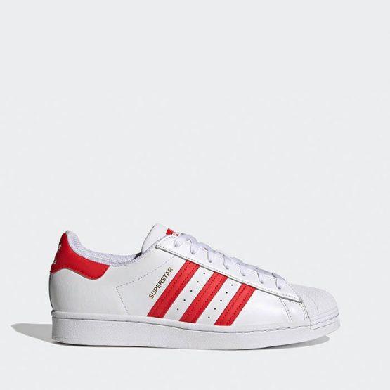 נעלי סניקרס אדידס לגברים Adidas Originals Superstar - לבן/אדום