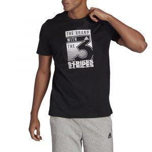 חולצת T אדידס לגברים Adidas Slogan Graphic - שחור