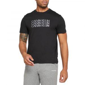 חולצת T קלווין קליין לגברים Calvin Klein Triple Center - שחור