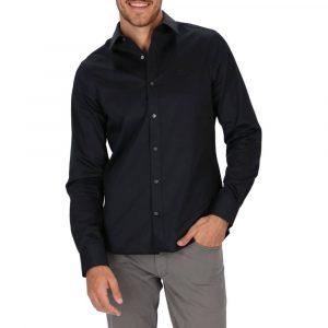 חולצה מכופתרת גאנט לגברים GANT Slim Fit Sateen - שחור