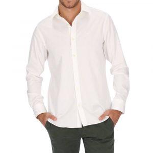 חולצה מכופתרת גאנט לגברים GANT Slim Fit Sateen - לבן