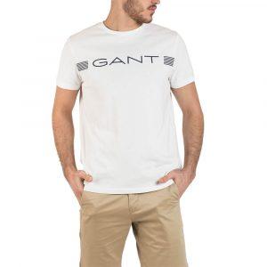 חולצת T גאנט לגברים GANT Stripe Tee - לבן