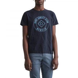 חולצת T גאנט לגברים GANT Sunset Club Print - כחול