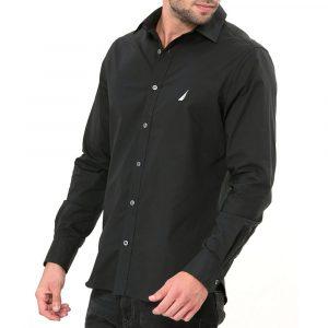 חולצה מכופתרת נאוטיקה לגברים Nautica TAILORED FIT - שחור