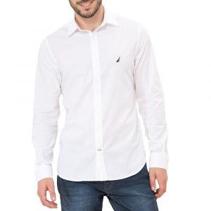 חולצה מכופתרת נאוטיקה לגברים Nautica TAILORED FIT - לבן