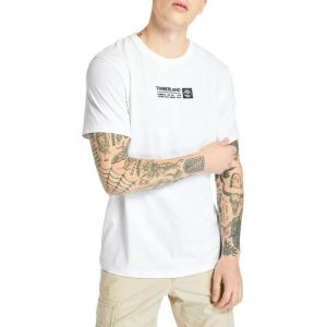 חולצת T טימברלנד לגברים Timberland Brand Carrier Mini Linear Tee - לבן