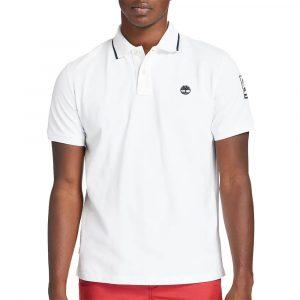 חולצת פולו טימברלנד לגברים Timberland Brand Carrier Polo - לבן