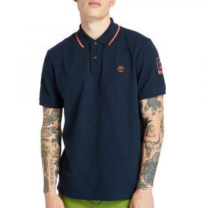 חולצת פולו טימברלנד לגברים Timberland Brand Carrier Polo - כחול כהה