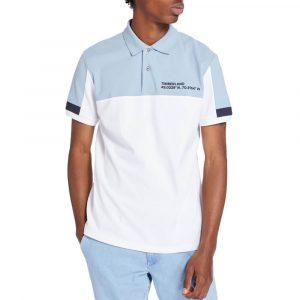 חולצת פולו טימברלנד לגברים Timberland Colourblock Polo - לבן/כחול
