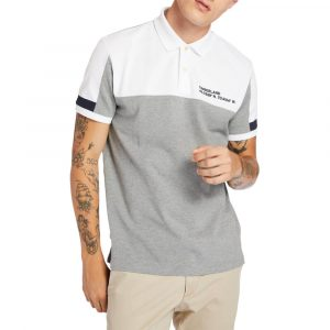 חולצת פולו טימברלנד לגברים Timberland Colourblock Polo - אפור/לבן