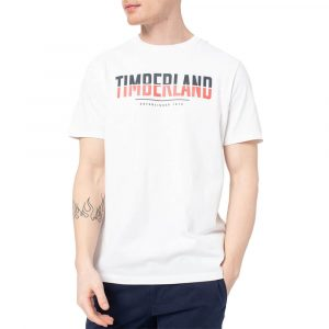 חולצת T טימברלנד לגברים Timberland Linear Logo Two Techniq - לבן
