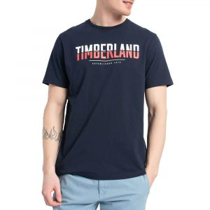 חולצת T טימברלנד לגברים Timberland Linear Logo Two Techniq - כחול כהה