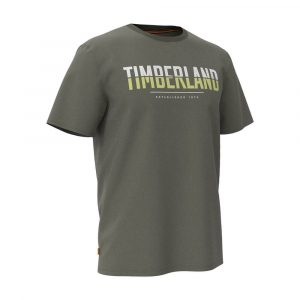 חולצת T טימברלנד לגברים Timberland Linear Logo Two Techniq - ירוק כהה