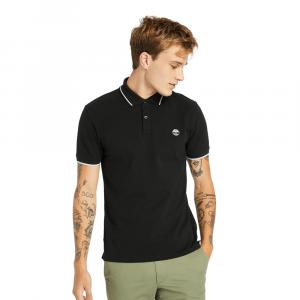 חולצת פולו טימברלנד לגברים Timberland Millers River Tipped-Collar - שחור