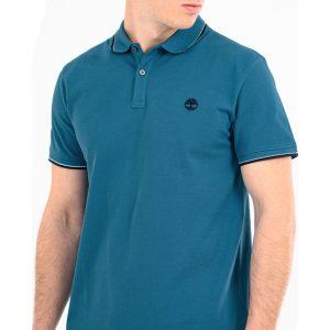 חולצת פולו טימברלנד לגברים Timberland Millers River Tipped-Collar - כחול