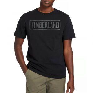 חולצת T טימברלנד לגברים Timberland Mink Brook Linear-Logo - שחור