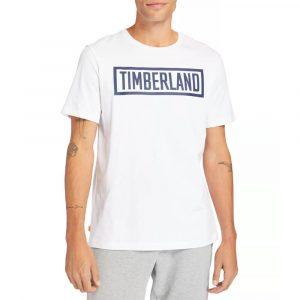 חולצת T טימברלנד לגברים Timberland Mink Brook Linear-Logo - לבן