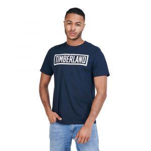 חולצת T טימברלנד לגברים Timberland Mink Brook Linear-Logo - כחול