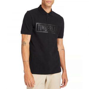 חולצת פולו טימברלנד לגברים Timberland Mink Brook Linear - שחור
